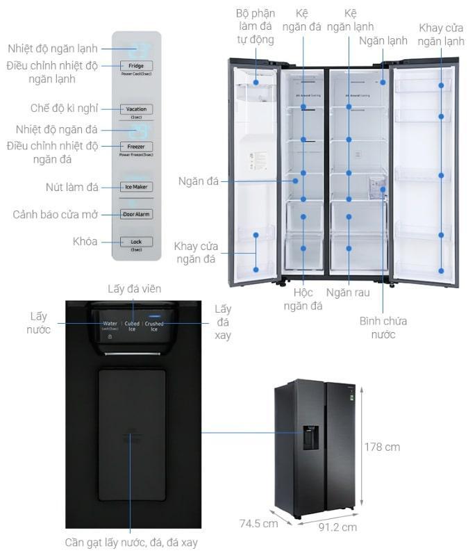 Tủ lạnh Samsung RS64R5301B4 mô tả chi tiết sản phẩm
