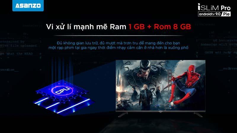 vi xử lý mạnh mẽ với Ram 1 GB + Rom 8 GB