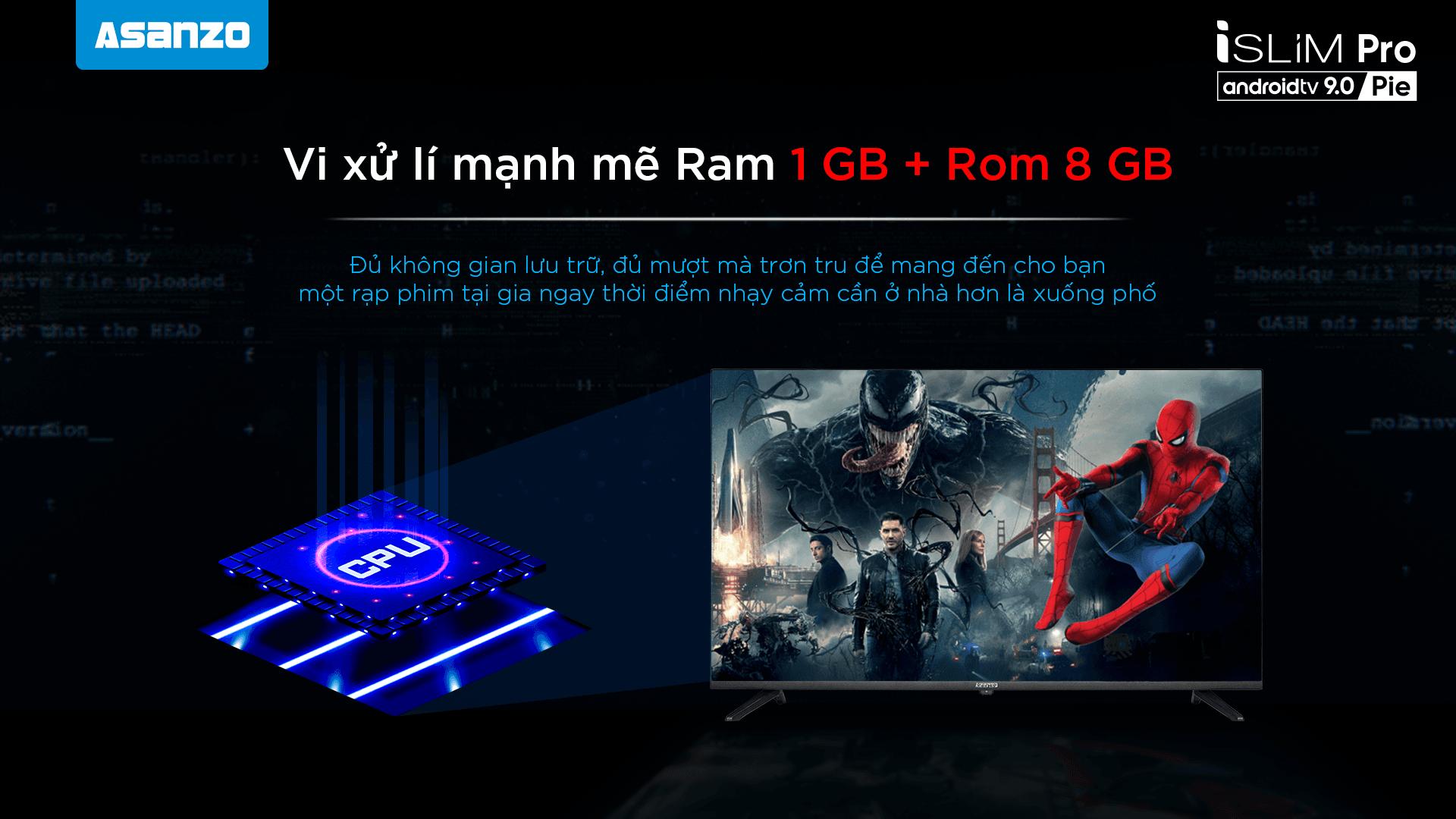 xử lý mạnh mẽ Ram 1 GB + Rom 8 BG