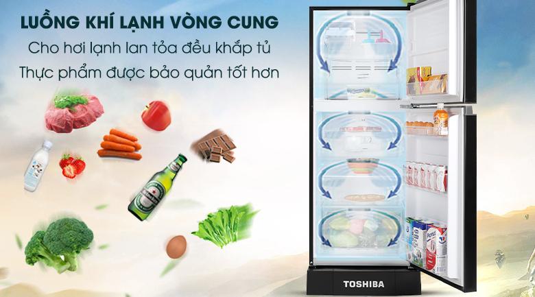Tủ lạnh Toshiba Inverter 194 lít GR-A25VM(UKG1)-Bảo quản thực phẩm lạnh toàn diện nhờ hệ thống khí lạnh vòng cung
