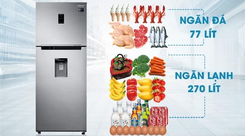 Thoải mái tích trữ thực phẩm với dung tích lên đến 360 lít - Tủ lạnh Samsung Inverter 360 lít RT35K5982S8/SV